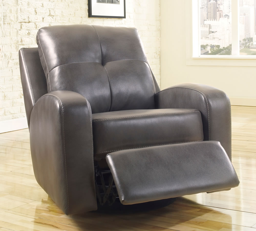 Grey Leather Modern Recliner With Thick Cushion Legrest And Armrest