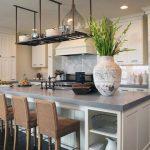 Grey Quartz Kitchen Island Idea Several Barstools White Kitchen Cabinet System
