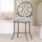 Grey stained metal vanity chair with back idea with white round cushion
