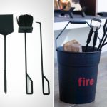 Hardmetal stick variants for fireplace and metal bin for logs and sticks