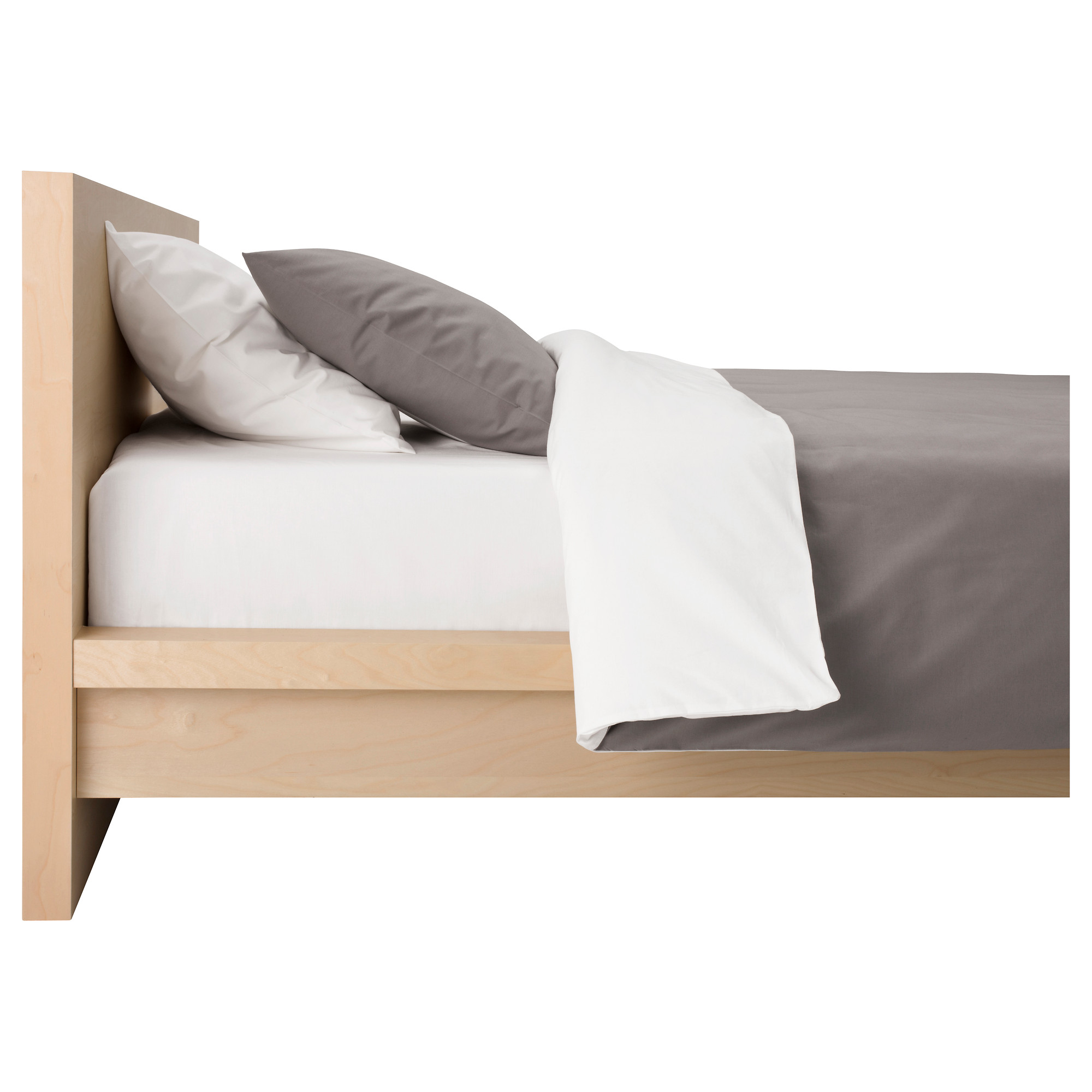 Hardwood Ikea King Bed Platform With Grey White Pillow And Mattres