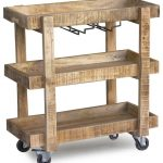 Hardwood bar cart idea with wheels