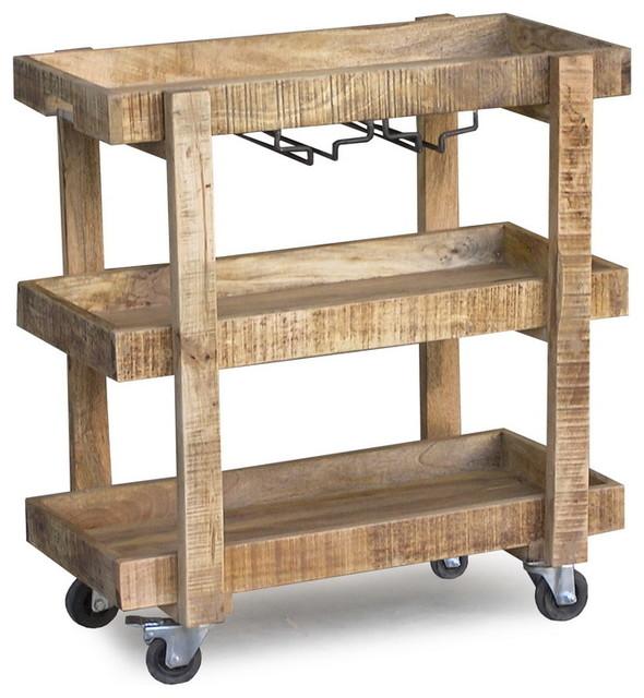 Hardwood Bar Cart Idea With Wheels