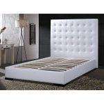High white leather headboard for queen bed frame