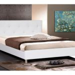 Higher white leather hedaboard for white queen bed frame