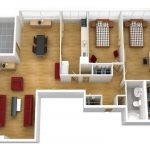 Home floor plan in 3D version consisting of two bedroom an open space for living room and  dining room a kitchen a bathroom