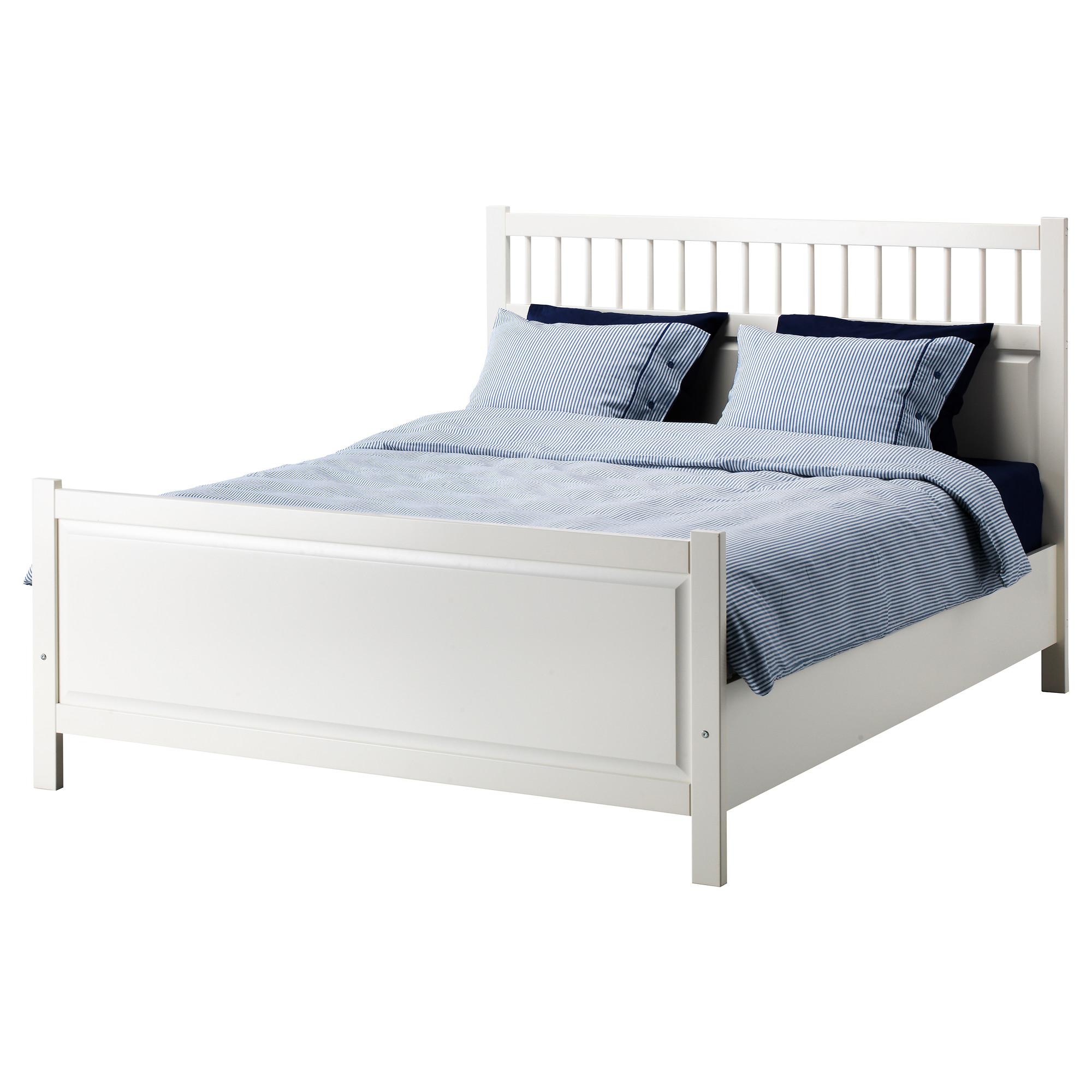 Ikea Bed Frame White Wooden And Blue Bedding King Platform