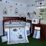 Kids Wooden Baby Crib Bedding Fish Blue Ocean Dark Furniture And Beautiful Wallpaper