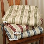 Kitchen Wooden Chair With Strip Pattern On Its Cushions
