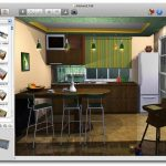 Kitchen room with mini kitchen bar plus bar stools design in 3 dimension