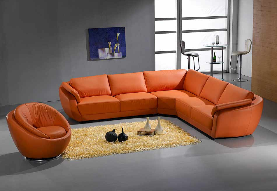 Orange Leather Couch Furniture Homesfeed