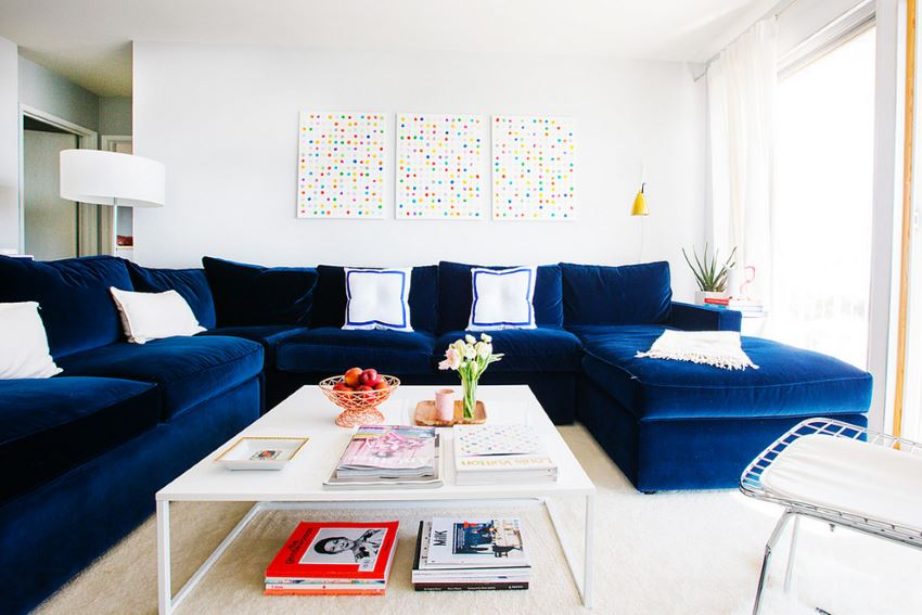 Amazing Navy Blue Sectional Sofa Design Options Homesfeed Short Links Chair Design For Home Short Linksinfo
