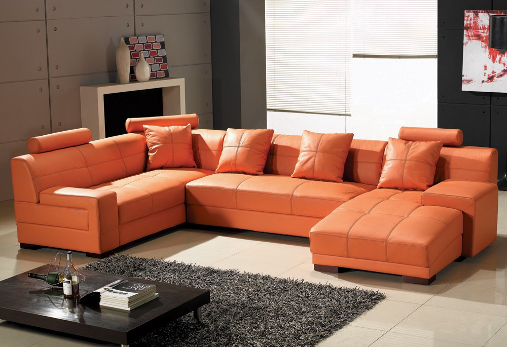orange leather couch furniture homesfeed. Black Bedroom Furniture Sets. Home Design Ideas