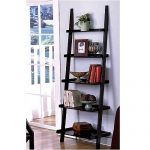 Leaning ladder bookcase idea in black stain