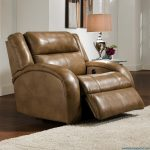 Light Brown Recliner With Its Elegant Lamp And Fur Rug