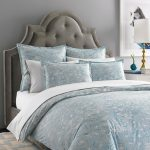 Light blue bedcover and white bedding created by Jonathan Adler