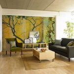 Living Room Rustic Design With Artistic Wallapaper Black Sofa Small Table And RUg