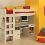 Loft Bunk Bed With White Wooden Color And Its Desk For Studying