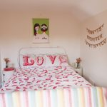 Love Red And White Design Bedding With White Bed Frame And Table