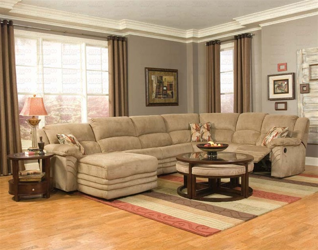 Luxurious And Cozy Microfiber Reclining Sectional With Single Chaise Round Gl Top Coffee Table Wood