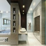 Luxurious bathroom design with floating bathroom vanity a pair of white basin and faucets a glass door shower room some arrangements of recessed light fixtures