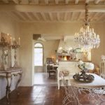 Luxurious dining room decor in French style with French look dining furniture and console table gorgeous crystal pendant chandelier