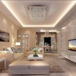 Luxury Living Room With Crystal Decorating In White Theme WIth Sofas Coffee Table Fure Rug And Flat TV