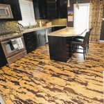 Marvelous Cork Kitchen Floors Idea For Modern Kitchen A Kitchen Island With Black Leather Bar Chairs Black Painted Kitchen Cabinets