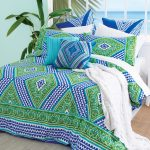 Marvelous patterned duvet cover in large size with a lot of pillows