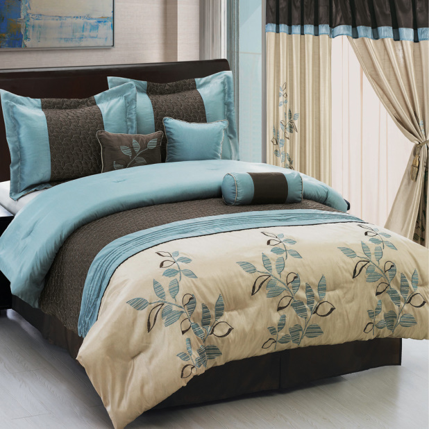 Marvelous Teal And Brown Bedcover With Fl Pattern A Pile Of Pillows Throw In