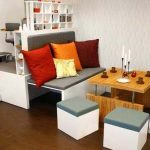 Matroshka-collection-multipurposed-furniture-by-Russion-dolls-using-versatile-pieces-for-desk-and-dining-room-set-and-red-orange-white-cushions-and-wooden-table-also-white-cubes-as-chair