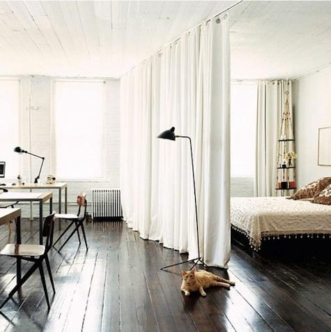 hang curtain from ceiling