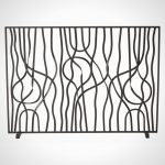 Metal wire fireplace screen idea