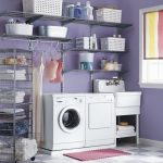 Metal wire shelves for laundry room a lot of box storage units in different sizes washing supplies washer and dryer machines a standing sink and faucet completed with under shelf small red mat