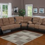Microfiber reclining sectional furniture with armrests modern area rug in white and grey toned colors