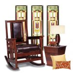 Mission wood rocking chair with leather cushion a side table with lamp two throw pillows