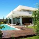 Modern Backyard Landscaping Pool Of House With Wooden Deck