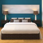 Modern Bedroom Interior Design With White Bed Dark Color Of Pillows And Lamps Stylish Tile And Blue Wall Painting