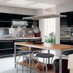 Modern Black And Grey Metal Combination With Wooden Kitchen Table