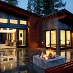 Modern Home Mountain Design With front Yard Tiling And Outdoor Fireplace