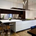 Modern White Kitchen With Metal Gery Design With Dining Room