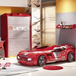 Modern-car-bed-design-for-kids-in-red-color-with-red-solar-machine-dresser-design-and-red-chair-and-table-and-red-pillow
