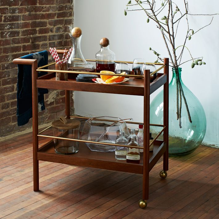 Movable Wood Bar Cart Design With Gold Toned Wheesls And Frame