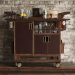 Movable wood bar cart with cabinets