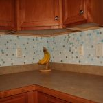 Multicolor polka dots wallpaper for kitchen backsplash L shaped kitchen counter idea with vinyl that looks like wood wooden wall cabinet system