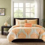 Orange Echo bedding design black bed furniture with black headboard modern black side table with bookshelf underneath