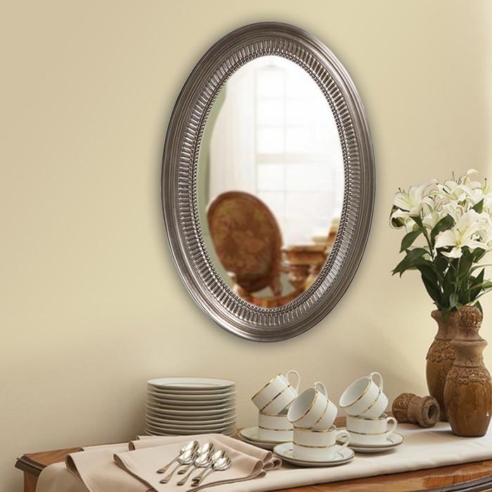 Brushed Nickel Oval Bathroom Mirror