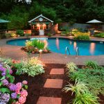 Perfect Backyard Pool With Beautiful Flower And Lighting
