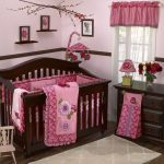 Pink And Red Flower Theme For Baby Room WIth Wooden Furniture