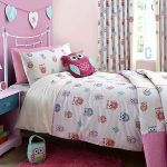 Pink And White Owl Design On Curtain Pillows Bed Cover For Kids Bedroom